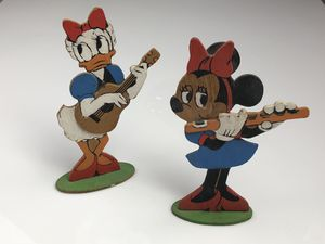 Vintage - Adorable Disney figures Daisy Duck and Minnie Mouse TWO SIDED wood figurines statues hand painted for Sale for sale  Palm Beach Gardens, FL
