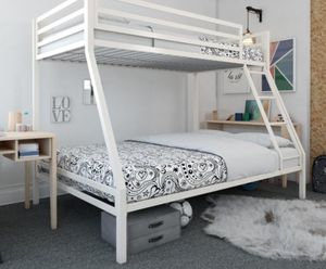 New!! Bed, full bed, twin bed, twin over full bunk bed, bunk bed, metal full bunk bed, bedroom furniture , white for Sale in Phoenix, AZ