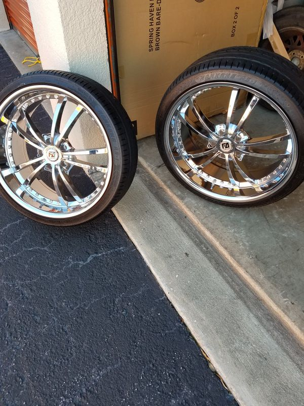 tires and rim stag look and with lug nuts these rims and tires are in very good condition and is solid Chrome