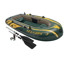 Intex Seahawk 3 Person Inflatable Boat Set with Aluminum Oars & Pump for Sale in Hercules, CA