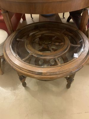 Nautical solid wood and brass coffee table for Sale in Port Orchard, WA