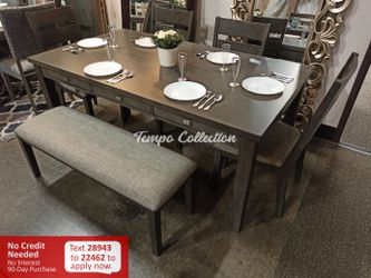 New 6pc Dining Set with Bench, Grey, SKU# HOM5674TC for Sale in Santa Fe Springs,  CA