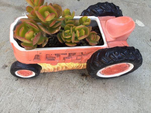 Ceramic Tractor vase with succulent