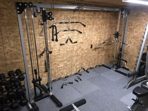 Home Gym Adjustable Cable Crossover Machine & Attachments for Sale in Jonesboro, AR