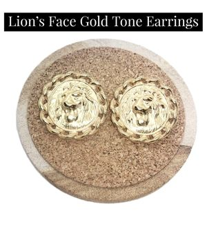 """Gorgeous Lion's Face Gold Tone Earrings. NWOT. Approx 1.5"""" diameter. SHIPPING ONLY!!! for Sale in Colorado Springs, CO"""
