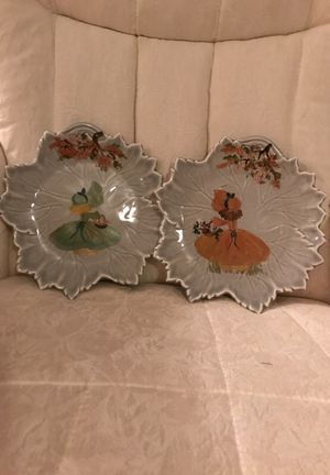 Two Beautiful hand painted girls on porcelain leaf plates for Sale in Gainesville, VA