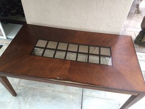 Wood Dining Room set with glass inlay for Sale in Pembroke Pines, FL