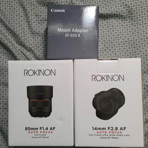 Rokinon AutoFocus EF Lens + Canon Ef-Eos R Adapter for Sale in Glendora, CA