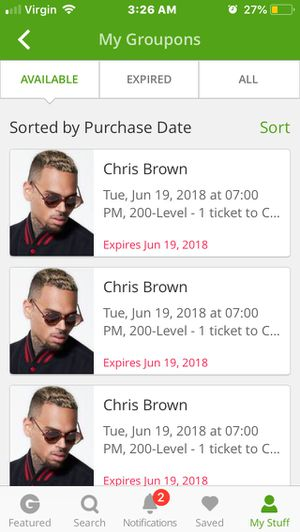3 Chris Brown tickets White River amphitheater for Sale in Tacoma, WA