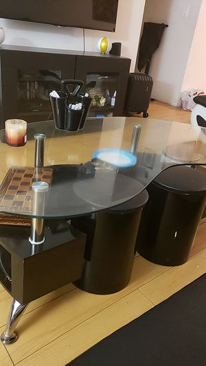 Coffee table black and silver E shape , glass on top, 2 side table round shape, matching with sofa set for Sale in Glendale, CA