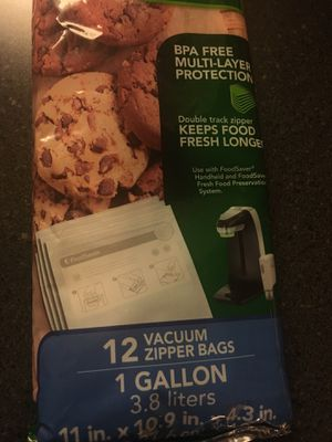 Food saver gallon vacuum zipper bags for Sale in Quincy, MA