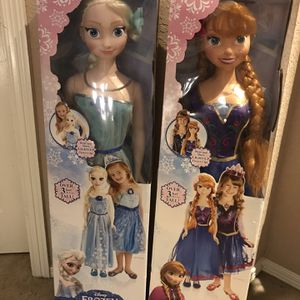 Disney Frozen Elsa & Anna Dolls, Life-Size, 38 inches tall for Sale in Crosby, TX