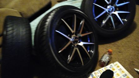 "16"" Universal 4 lug nut pattern NP Rims - Stainless Steel Finish, Black Polish Finished - Tire Size = 205/55/R16 - 80% Tread On Tires for Sale in Mount Holly,  NC"