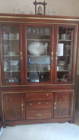 Wood hutch with glass for Sale in Port St. Lucie, FL