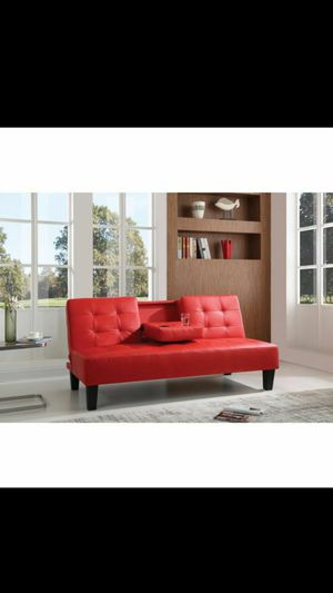 Available in black or Red leather sofa bed with cub holder $249 for Sale in Edison, NJ