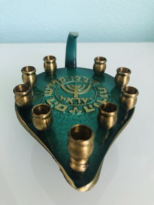 Vintage Small Candelabra Made in Israel by Payasi. Nine candle holder. Brass and enamel. for Sale in Federal Way, WA