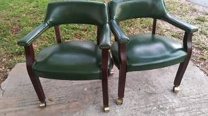 4 green leather office chairs on wheels for Sale in Kenneth City, FL