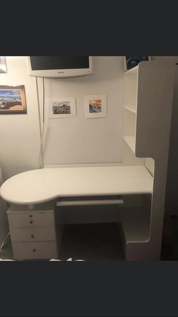 White lacquer finish desk