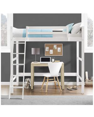 White wooden twin loft/upper bunk bed for Sale in Seattle, WA