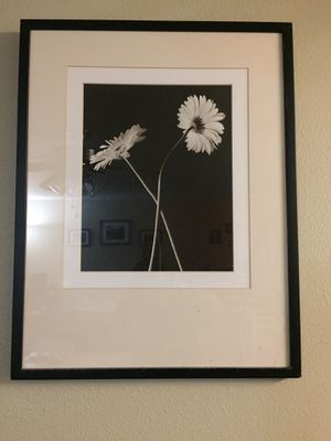 Black & White two flower pictures with frame. for Sale in Vancouver, WA