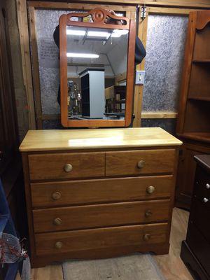 "Beautiful Maple 4drawer dresser w/mirror35""tall40""long16""deep,very good condition for Sale in Waynesboro, VA"