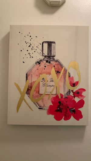 Perfume art painting small pink white for Sale in San Diego, CA