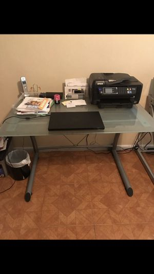 Beautiful frosted glass and metal desk for Sale in Fort Lauderdale, FL