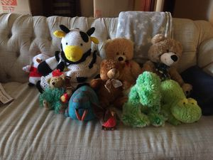Stuffed Animals, 10, as shown. Includes hand-knit beanbag cow. for Sale in Hallandale Beach, FL