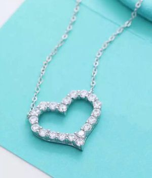 Tiffany Solid S925 Sterling silver Diamond heart pendant for Sale in Brooklyn, NY
