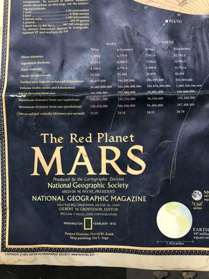 Vintage National Geographic 1973 Red Planet Mars Map for Sale in La Habra, CA