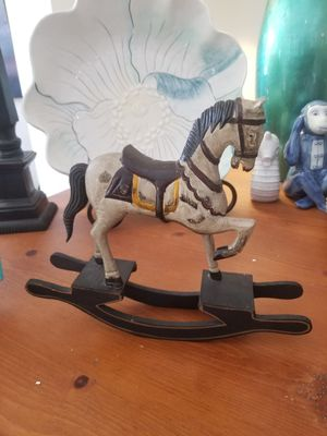 Hand-carved hand-painted wooden mini rocking horse for Sale in North Chesterfield, VA
