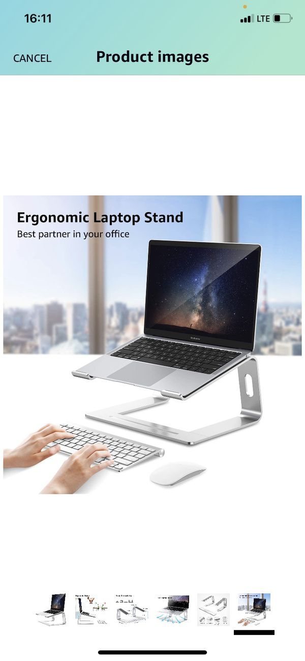 Laptop Stand, Detachable Computer Stand, Ergonomic Aluminum Laptop Stand for Desk, Laptop Riser Notebook Holder Compatible with MacBook Pro Air, Leno