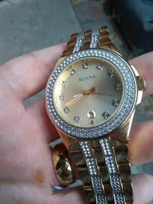 "Men's goldtone crystal and diamond ""Bulova"" for Sale in Whittier, CA"
