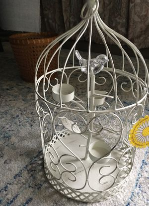 Bird cage with birds and candle holders for Sale in Austin, TX