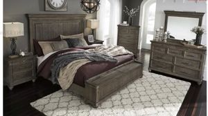 special... New Rustic Cal King bedroom set from ( Ashley) headboard bed frame footboard storage 2 night stands dresser mirror for Sale in Riverside, CA