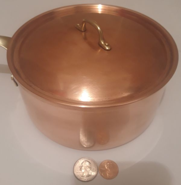 """Vintage Metal Copper and Brass Cooking Pot, Pan, with Lid. Made in Portugal. 13"""" Long and 7"""" x 3"""" Pot Size, Hanging Display, Shelf Display, Kitchen"""