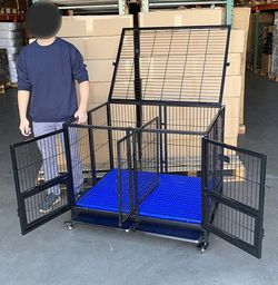 "$170 (new) folding heavy duty dog cage 41x31x34"" double-door stackable kennel w/ divider, plastic tray for Sale in El Monte,  CA"