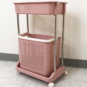 "(NEW) $20 Laundry 2-Tier Storage Cart w/ Bag Basket Rolling Wheels, 18x12x29"" for Sale in El Monte, CA"