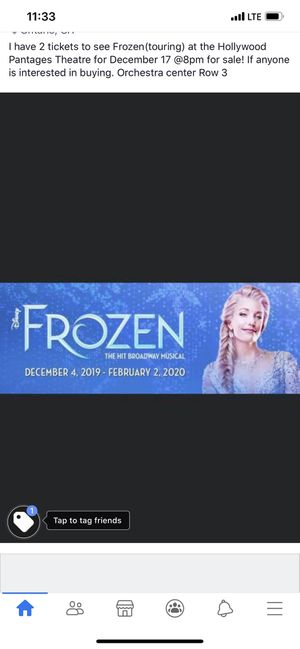Frozen tickets for Sale in Ontario, CA