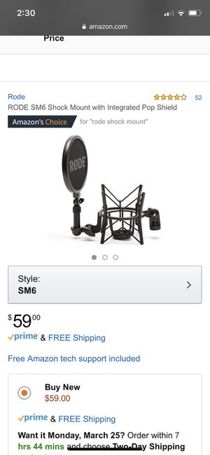 New RODE SM6 Shock Mount with Integrated Pop Shield for Sale in Ijamsville, MD