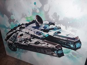 Amazing Custom Canvas oil painting of the Millennium Falcon not found anywhere signature unknown found in storage unit asking 675 price is negotiable for Sale in Houston, TX