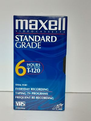 Maxell VHS T-120 6 Hour Standard Grade VCR Blank Video Cassette Tape for Sale in Brooks, OR