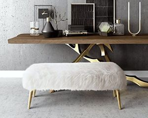 Sheepskin Bench with Gold Legs, NEW! for Sale in Fresno, CA
