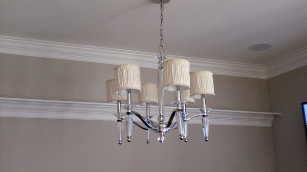 Crystal light fixture with 6 lights & cream shades
