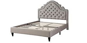 "omeLife Premiere Classics 51"" Tall Platform Bed with Cloth Headboard and Slats - Full (Light Grey Silver) for Sale in Inglewood, CA"