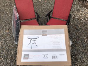 Brand New Bistro Table w/ 3 New Folding Chairs You Must Pickup for Sale in New Ringgold, PA