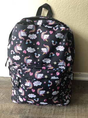 Large girl's black unicorn backpack. New with tags! for Sale in Fontana, CA