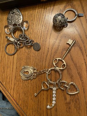 3 keychains/purse jewelry, like new, by Coach, Juicy and Kathy, brand names, porch pickup Mt Laurel for Sale in Mount Laurel Township, NJ
