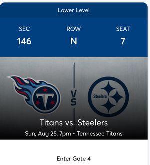 Titans vs Steelers Tickets $98 each for Sale in Nashville, TN