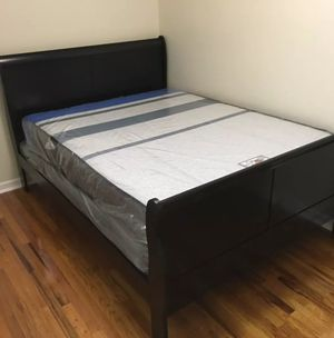Brand New Full Size Wood Sleigh Bed + Mattress Set ( 3 Color Options) for Sale in Silver Spring, MD